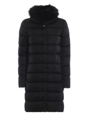 HERNO: cappotti imbottiti - Piumino nero in tecno taffetà con pelliccia