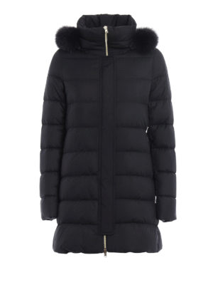 Herno: padded coats - Fur trim hooded padded coat