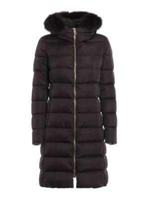 Herno: padded coats - Fur trim hooded padded long coat