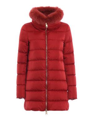 HERNO: cappotti imbottiti - Piumino con bordo in pelliccia removibile