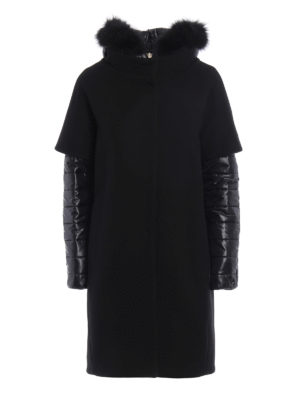 Herno: padded coats - Fur trimmed hood double front coat