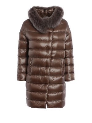 Herno: padded coats - Glossy nylon fur collar padded coat