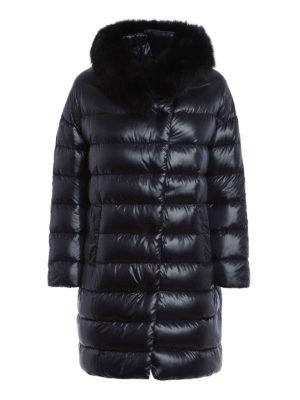 Herno: padded coats - Glossy nylon fur collar padded coat