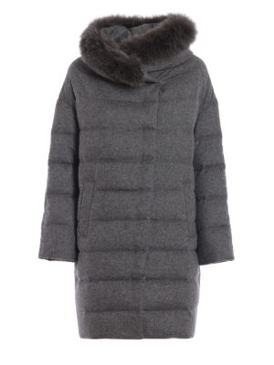 HERNO: cappotti imbottiti - Piumino grigio in panno di seta e cashmere