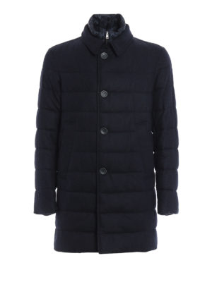 Herno: padded coats - Herringbone double front coat