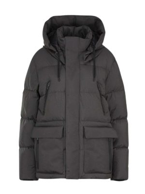 HERNO: padded coats - Hooded down jacket in grey
