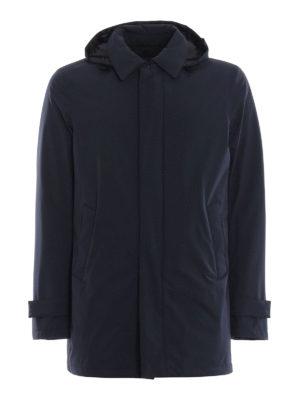 HERNO: cappotti imbottiti - Impermeabile Laminar blu opaco con cappuccio