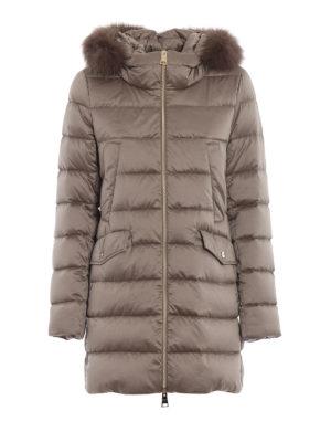 HERNO: cappotti imbottiti - Piumino con bordo in volpe color tortora