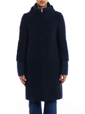 Herno: padded coats online - Blue boucle wool padded coat