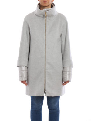 Herno: padded coats online - Cashmere coat with double front