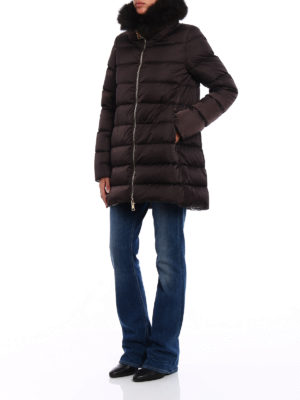 Herno: padded coats online - Detachable fur collar padded coat