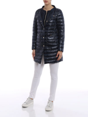 Herno: padded coats online - Double front dark blue padded coat