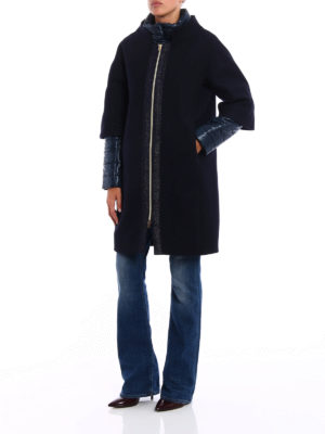 Herno: padded coats online - Double front wool padded coat