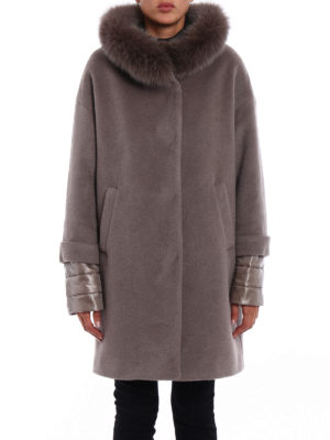 Herno: padded coats online - Fur trim angora blend warm coat