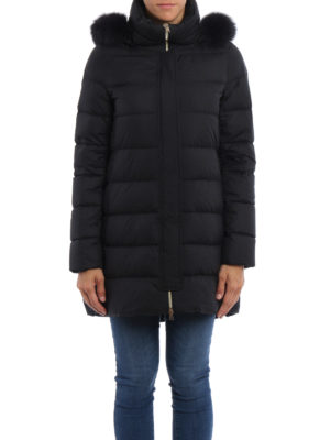 Herno: padded coats online - Fur trim hooded padded coat
