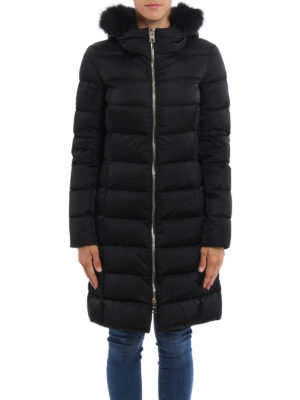 Herno: padded coats online - Fur trim hooded padded long coat