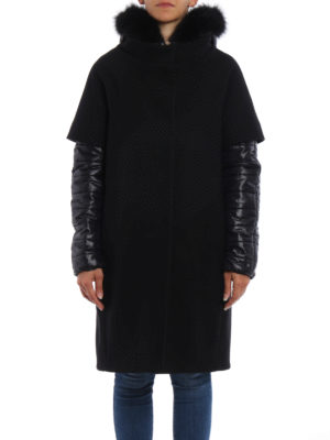 Herno: padded coats online - Fur trimmed hood double front coat