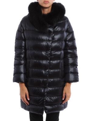 Herno: padded coats online - Glossy nylon fur collar padded coat