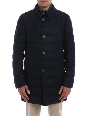 Herno: padded coats online - Herringbone double front coat