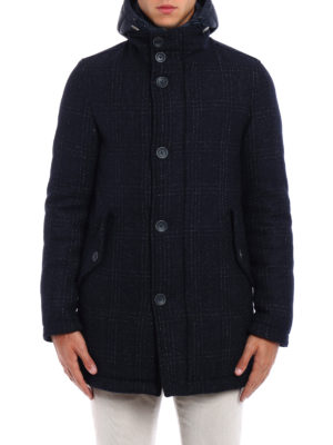 Herno: padded coats online - Padded tweed hooded pea coat