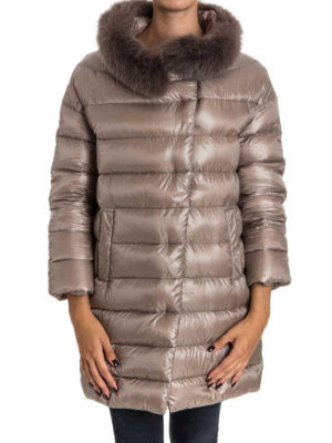 Herno: padded coats online - Removable fur collar padded coat
