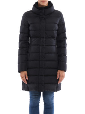 Herno: padded coats online - Rib knitted double collar down coat