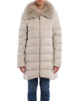 Herno: padded coats online - Silk and cashmere padded coat