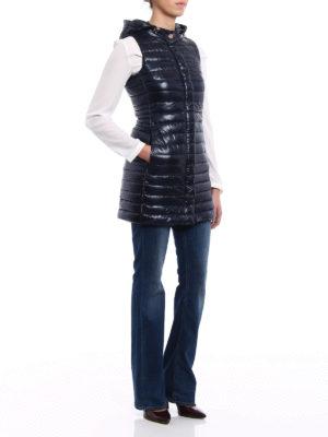Herno: padded coats online - Ultralight blue long padded vest