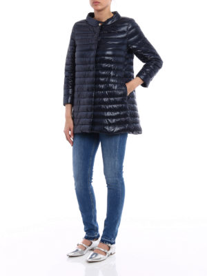 Herno: padded coats online - Ultralight blue puffer coat