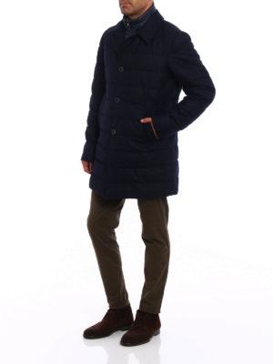 Herno: padded coats online - Waterproof wool blue padded coat