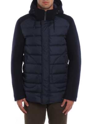 Herno: padded coats online - Wool scuba and nylon padded coat