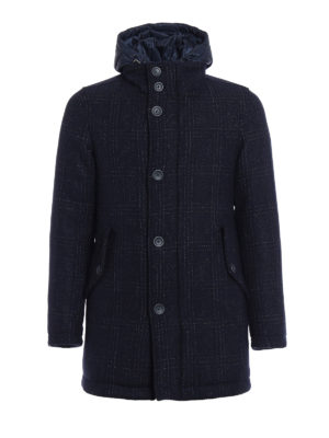 Herno: padded coats - Padded tweed hooded pea coat
