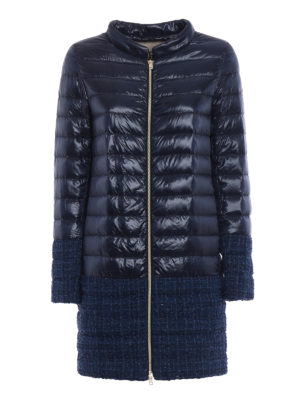 Herno: padded coats - Shimmering combo short puffer coat