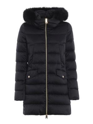 HERNO: cappotti imbottiti - Piumino in tecno satin con bordo in volpe