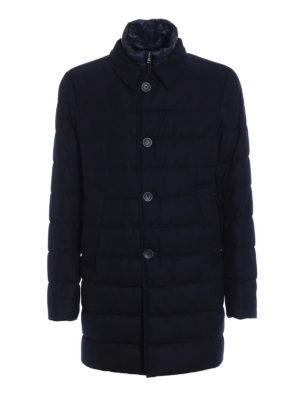 Herno: padded coats - Waterproof wool blue padded coat