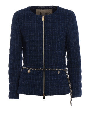 Herno: padded jackets - Belted bouclé down jacket