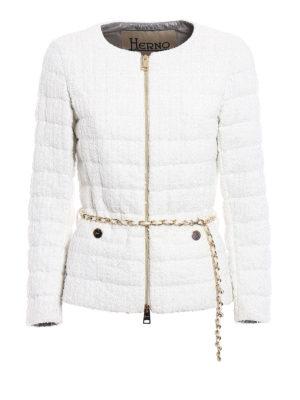 Herno: padded jackets - Belted bouclé padded jacket