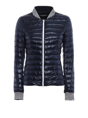 Herno: padded jackets - Blue bomber puffer light jacket