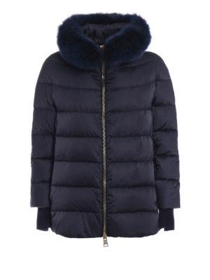 HERNO: giacche imbottite - Piumino blu con pelliccia removibile