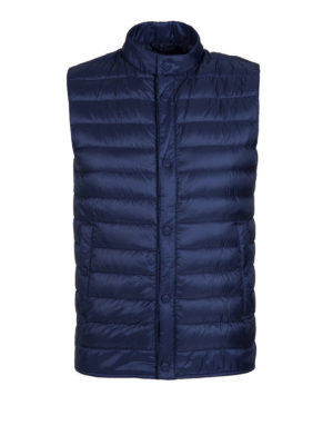 Herno: padded jackets - Blue sleeveless puffer jacket