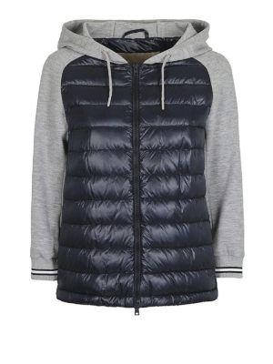 HERNO: giacche imbottite - Piumino blu con maniche in cotone
