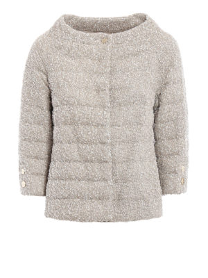Herno: padded jackets - Cowl collar bouclé padded jacket