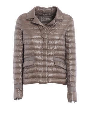 Herno: padded jackets - Down padded taupe nylon jacket