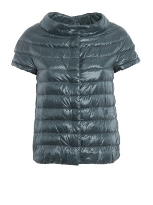 HERNO: giacche imbottite - Piumino Emilia verde con maniche corte