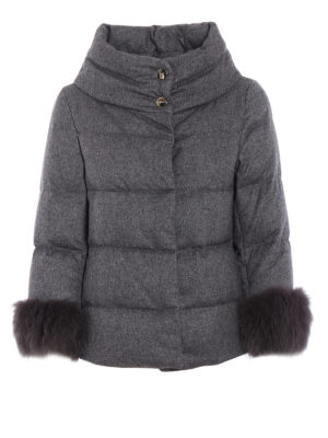 Herno: padded jackets - Fur cuffs cashmere padded jacket
