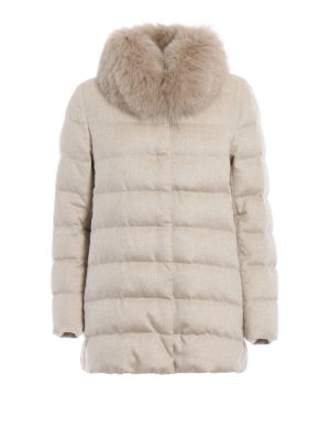 Herno: padded jackets - Fur detailed long padded jacket