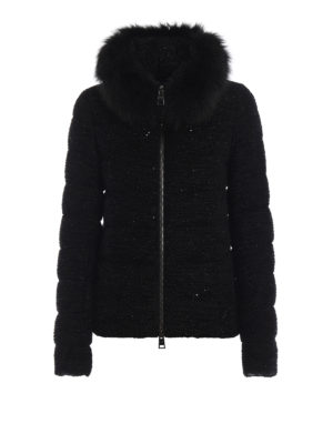 HERNO: giacche imbottite - Piumino effetto tweed con paillettes e volpe