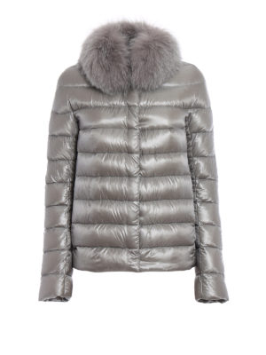 Herno: padded jackets - Fur trimmed grey padded jacket