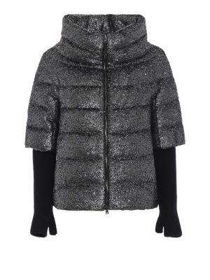 HERNO: giacche imbottite - Piumino a manica corta effetto glitter