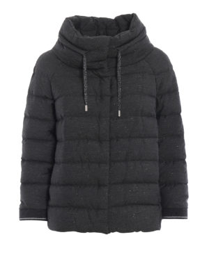 HERNO: giacche imbottite - Piumino in tessuto lurex grigio